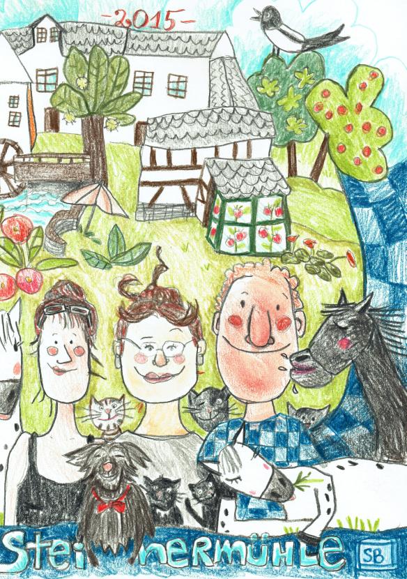 Ferien in der Steinermühle – Zeichnung von Steph Burlefinger
